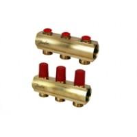 """Danfoss grindų šildymo 1"""" kolektorius FHF nuo 2 iki 8 žiedų su termostatiniais ventiliais be išankstinio nustatymo, su uždarymo, reguliavimo funkcija. 088U0612, 088U0613, 088U0614, 088U0615, 088U0616, 088U0617, 088U0618"""